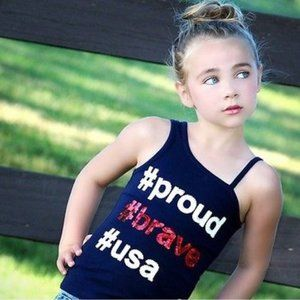 JUSTICE Red White Blue Top #proud #brave #usa NWT